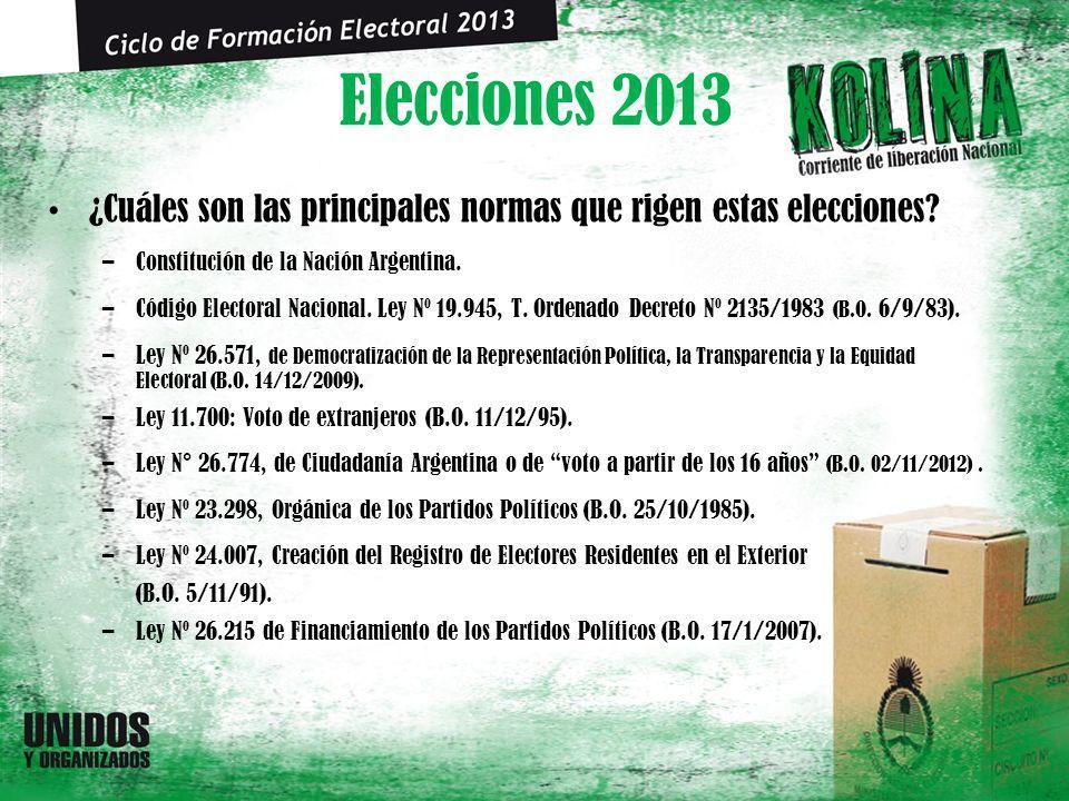 Elecciones 2013 ¿Cuáles son las principales normas que rigen estas elecciones? –Constitución de la Nación Argentina. –Código Electoral Nacional. Ley N