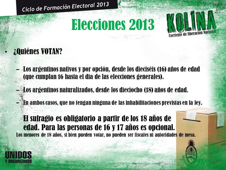 Elecciones 2013 ¿Quiénes VOTAN? –Los argentinos nativos y por opción, desde los dieciséis (16) años de edad (que cumplan 16 hasta el día de las elecci
