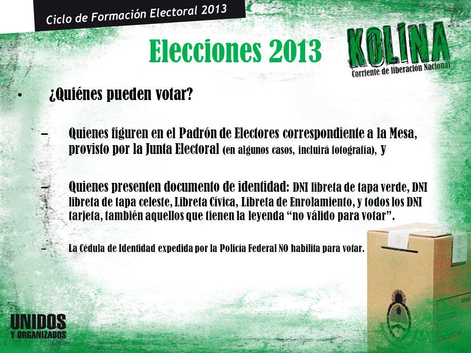 Elecciones 2013 ¿Quiénes pueden votar? –Quienes figuren en el Padrón de Electores correspondiente a la Mesa, provisto por la Junta Electoral (en algun