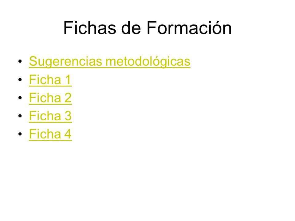 Fichas de Formación Sugerencias metodológicas Ficha 1 Ficha 2 Ficha 3 Ficha 4