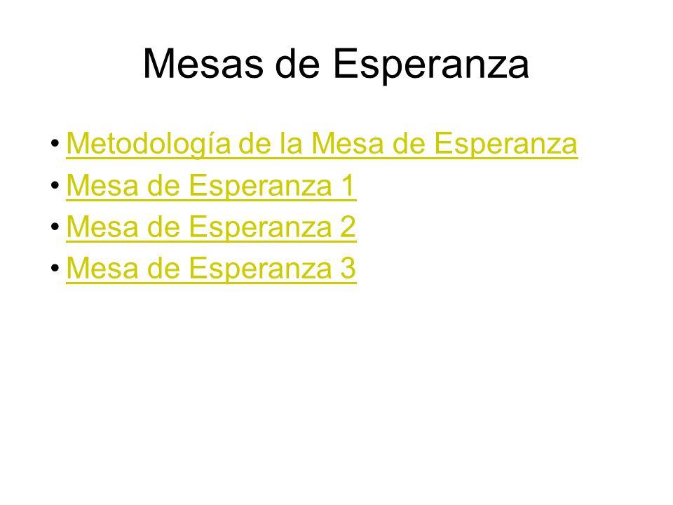 Mesas de Esperanza Metodología de la Mesa de Esperanza Mesa de Esperanza 1 Mesa de Esperanza 2 Mesa de Esperanza 3