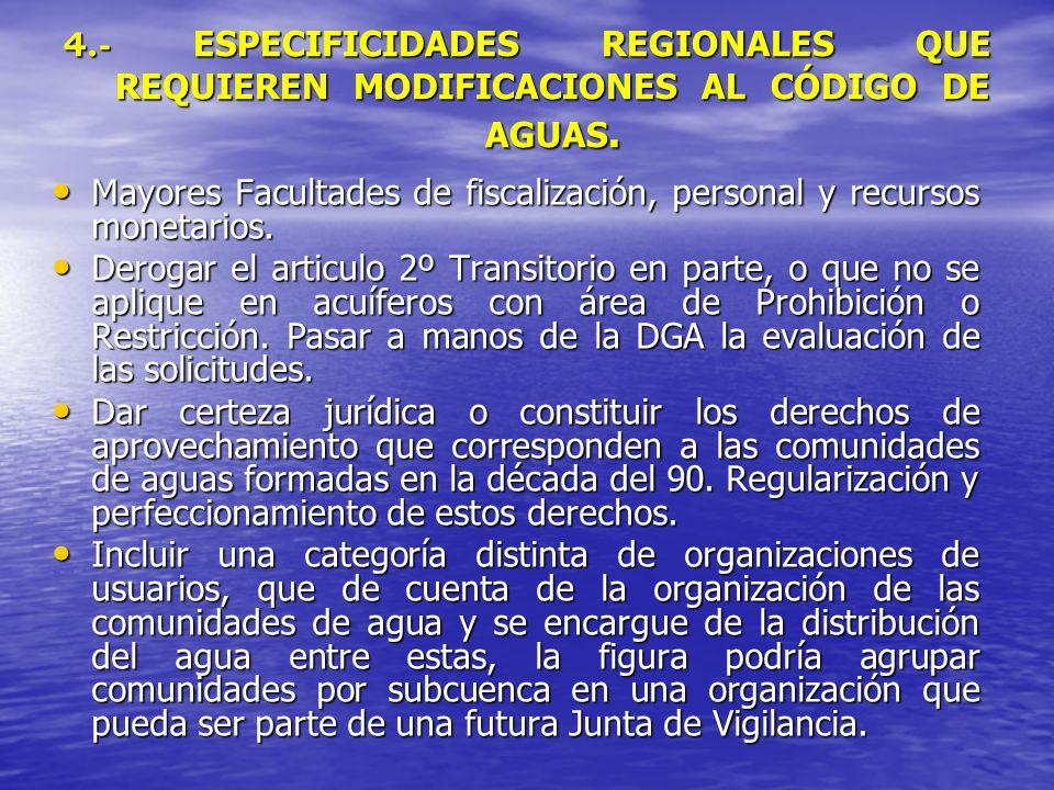 4.- ESPECIFICIDADES REGIONALES QUE REQUIEREN MODIFICACIONES AL CÓDIGO DE AGUAS. Mayores Facultades de fiscalización, personal y recursos monetarios. M
