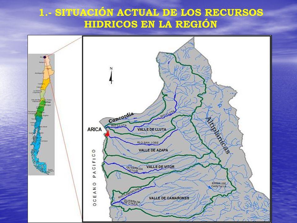 Altiplánicas 1.- SITUACIÓN ACTUAL DE LOS RECURSOS HIDRICOS EN LA REGIÓN Concordia
