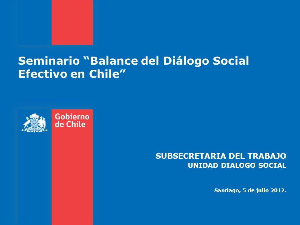 Seminario Balance del Diálogo Social Efectivo en Chile SUBSECRETARIA DEL TRABAJO UNIDAD DIALOGO SOCIAL Santiago, 5 de julio 2012.