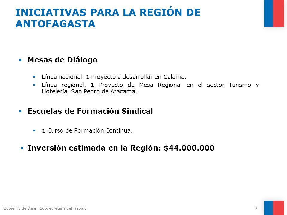 Mesas de Diálogo Línea nacional. 1 Proyecto a desarrollar en Calama. Línea regional. 1 Proyecto de Mesa Regional en el sector Turismo y Hotelería. San