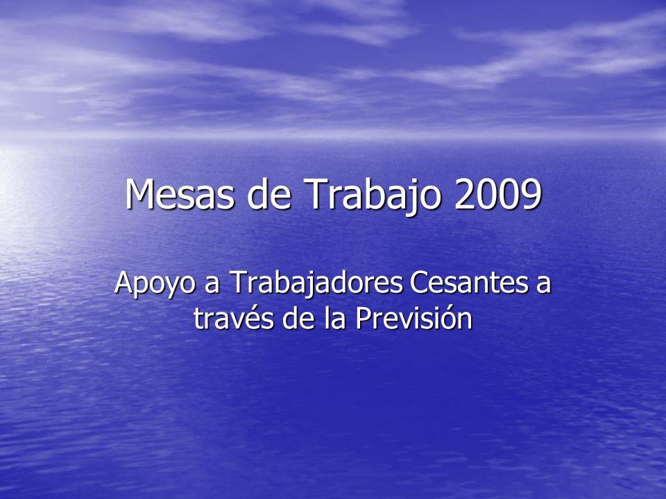 Mesas de Trabajo 2009 Apoyo a Trabajadores Cesantes a través de la Previsión