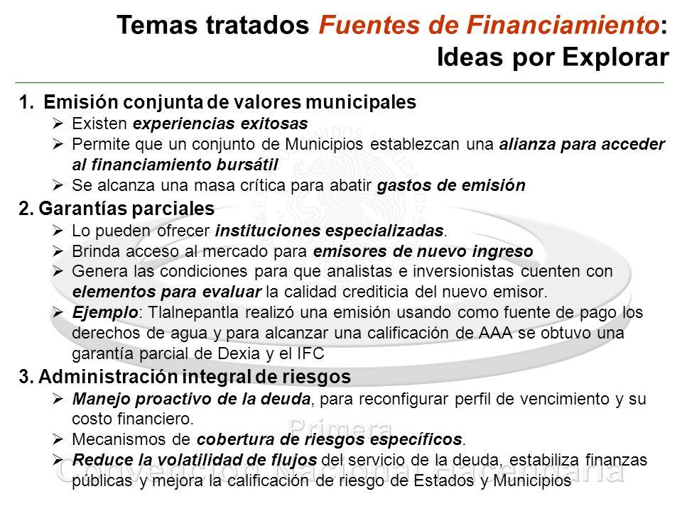 Temas tratados Fuentes de Financiamiento: Ideas por Explorar 1. Emisión conjunta de valores municipales Existen experiencias exitosas Permite que un c