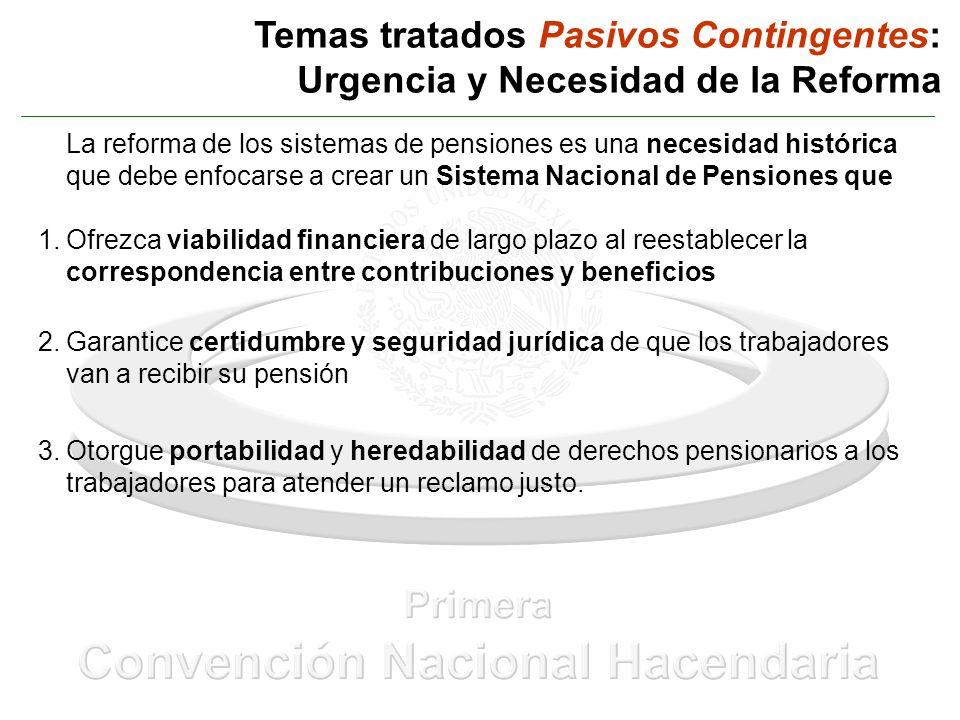 Temas tratados Pasivos Contingentes: Urgencia y Necesidad de la Reforma La reforma de los sistemas de pensiones es una necesidad histórica que debe en