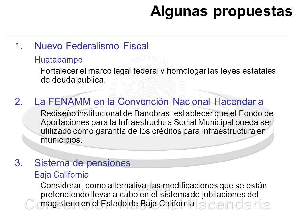 Algunas propuestas 1.Nuevo Federalismo Fiscal Huatabampo Fortalecer el marco legal federal y homologar las leyes estatales de deuda publica. 2.La FENA