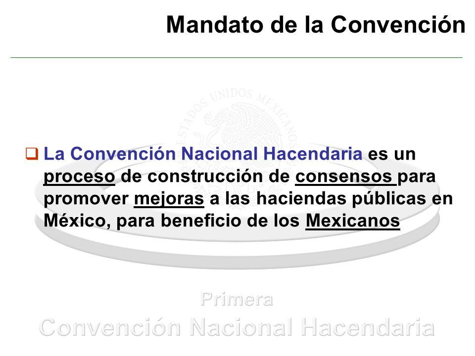 Mandato de la Convención La Convención Nacional Hacendaria es un proceso de construcción de consensos para promover mejoras a las haciendas públicas en México, para beneficio de los Mexicanos