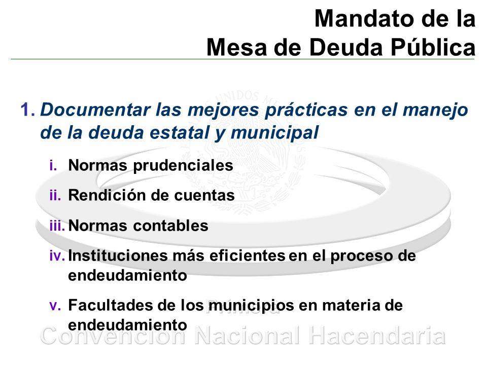 Mandato de la Mesa de Deuda Pública 1.Documentar las mejores prácticas en el manejo de la deuda estatal y municipal i. Normas prudenciales ii. Rendici