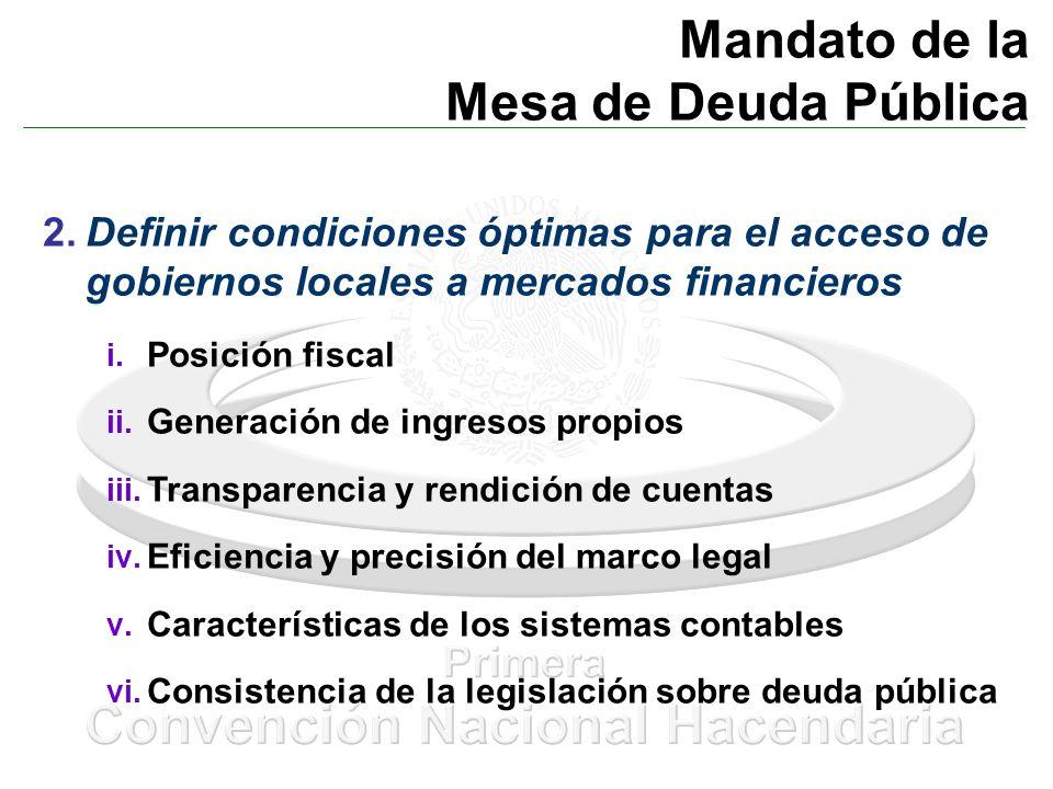 Mandato de la Mesa de Deuda Pública 2.Definir condiciones óptimas para el acceso de gobiernos locales a mercados financieros i. Posición fiscal ii. Ge