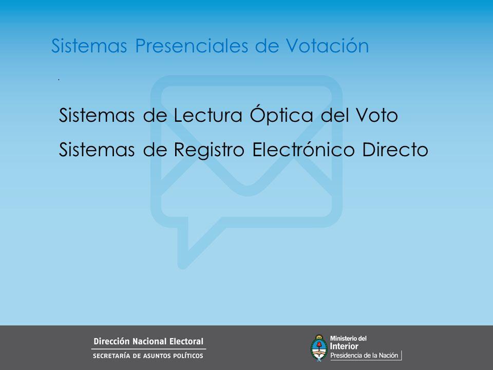 . Sistemas Presenciales de Votación Sistemas de Lectura Óptica del Voto Sistemas de Registro Electrónico Directo