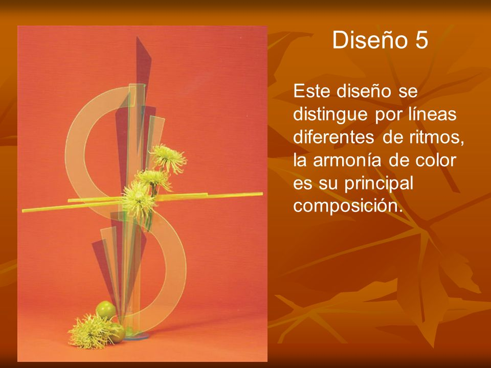 Diseño 5 Este diseño se distingue por líneas diferentes de ritmos, la armonía de color es su principal composición.