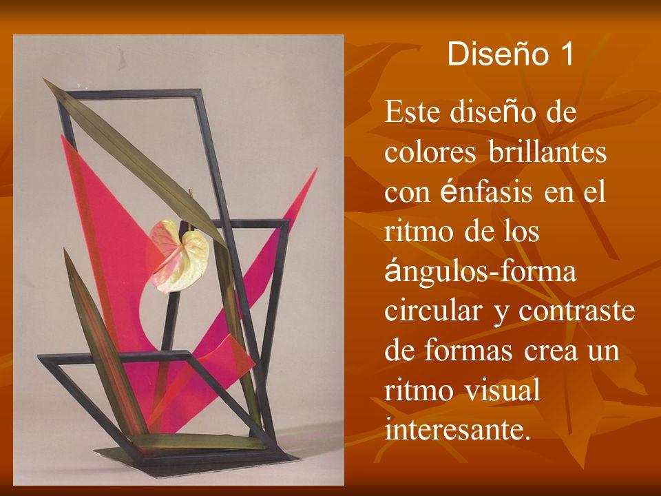 Diseño 1 Este dise ñ o de colores brillantes con é nfasis en el ritmo de los á ngulos-forma circular y contraste de formas crea un ritmo visual intere
