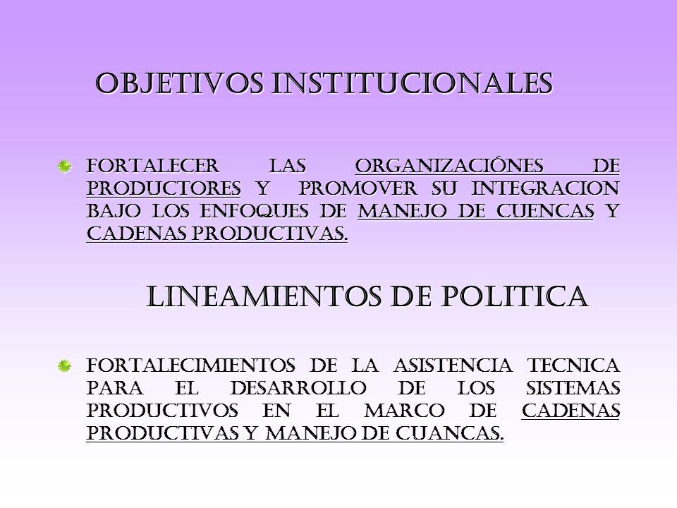 FORTALECER LAS ORGANIZACIÓNES DE PRODUCTORES Y PROMOVER SU INTEGRACION BAJO LOS ENFOQUES DE MANEJO DE CUENCAS Y CADENAS PRODUCTIVAS.