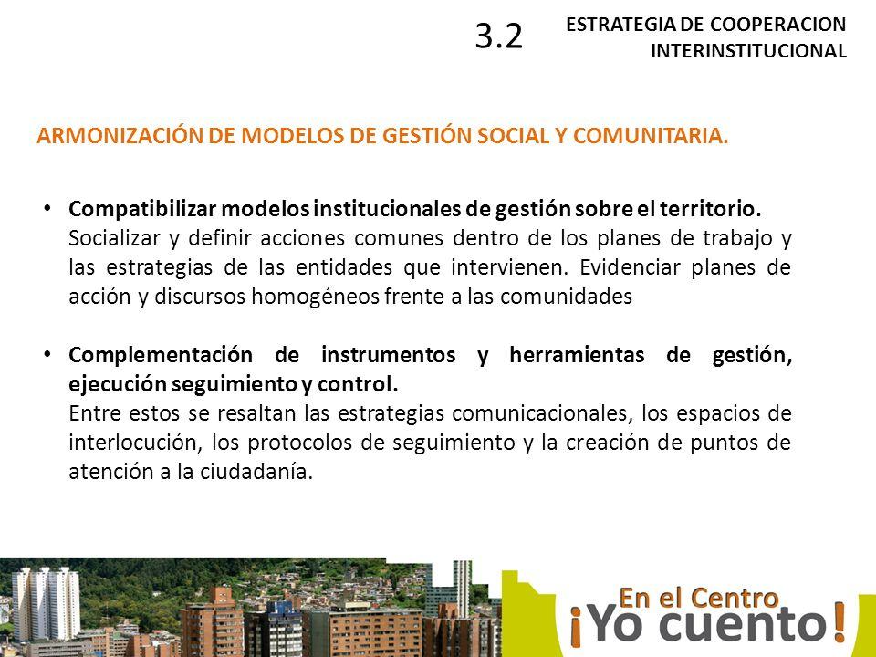 Compatibilizar modelos institucionales de gestión sobre el territorio.