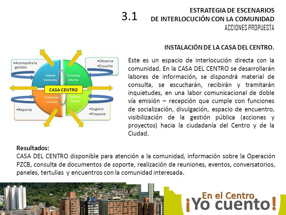 INSTALACIÓN DE LA CASA DEL CENTRO. Este es un espacio de interlocución directa con la comunidad.