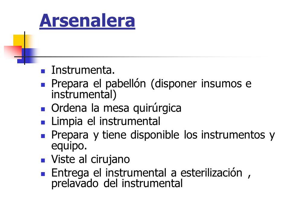Arsenalera Instrumenta. Prepara el pabellón (disponer insumos e instrumental) Ordena la mesa quirúrgica Limpia el instrumental Prepara y tiene disponi