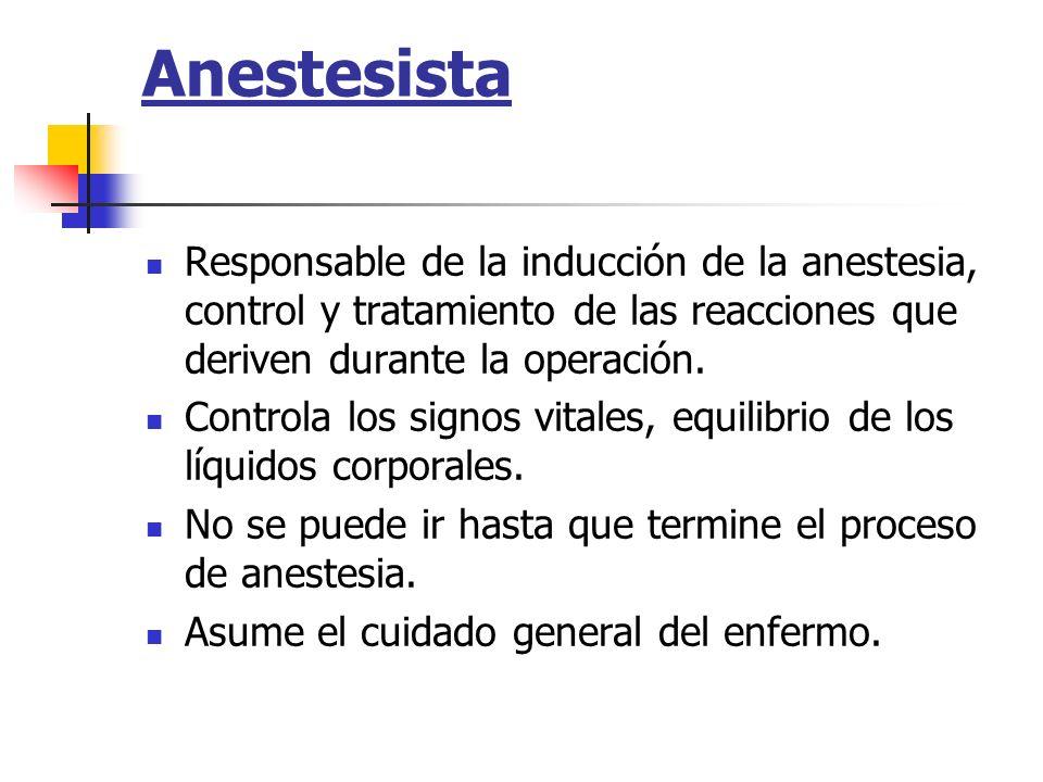 Anestesista Responsable de la inducción de la anestesia, control y tratamiento de las reacciones que deriven durante la operación. Controla los signos