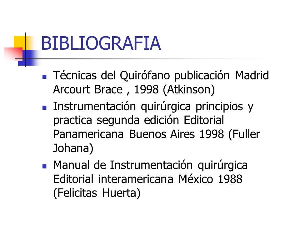 BIBLIOGRAFIA Técnicas del Quirófano publicación Madrid Arcourt Brace, 1998 (Atkinson) Instrumentación quirúrgica principios y practica segunda edición