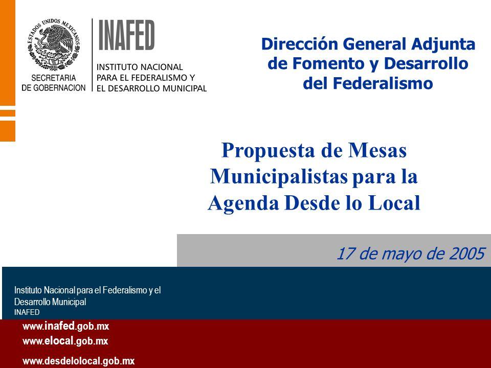 Dirección General Adjunta de Fomento y Desarrollo del Federalismo 17 de mayo de 2005 Instituto Nacional para el Federalismo y el Desarrollo Municipal