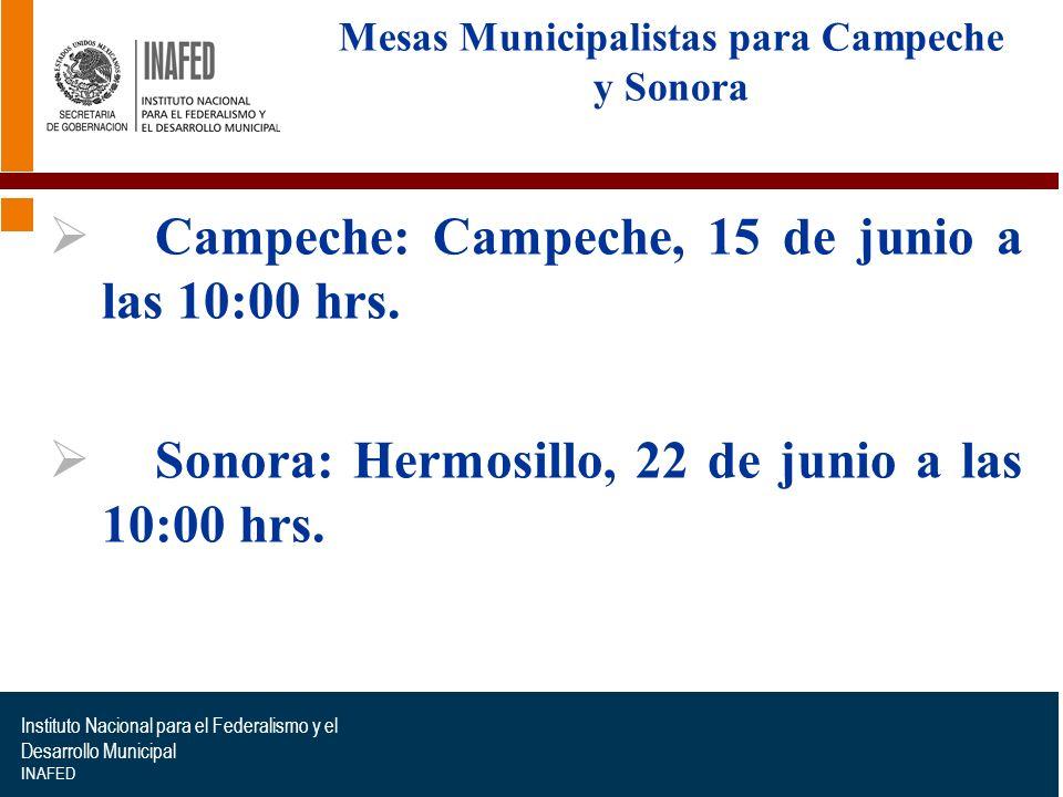 Instituto Nacional para el Federalismo y el Desarrollo Municipal INAFED Etapas para la organización de las Mesas Municipalistas para Campeche y Sonora Recopilación de acciones y programas federales.