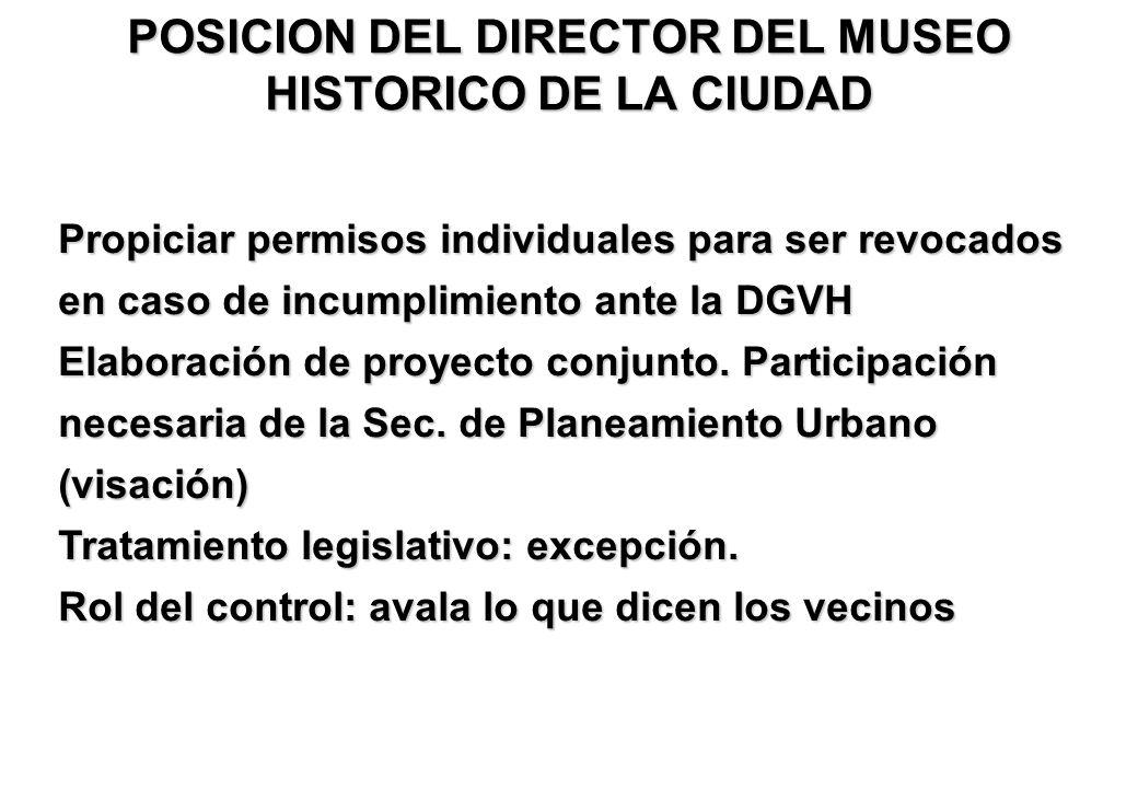 POSICION DEL DIRECTOR DEL MUSEO HISTORICO DE LA CIUDAD Propiciar permisos individuales para ser revocados en caso de incumplimiento ante la DGVH Elaboración de proyecto conjunto.