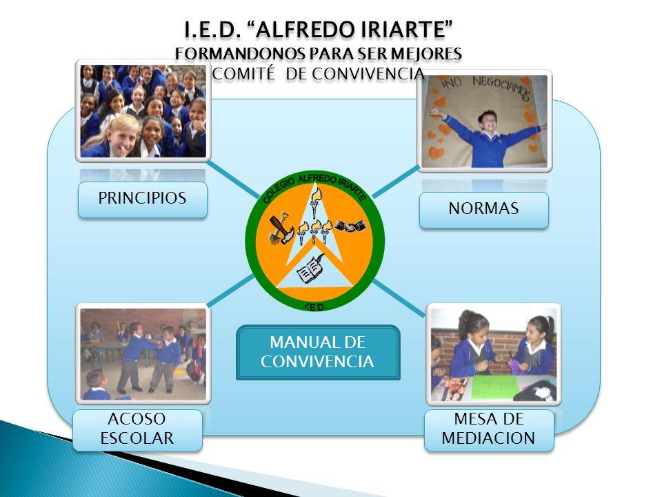 PRINCIPIOS MESA DE MEDIACION MESA DE MEDIACION ACOSO ESCOLAR ACOSO ESCOLAR NORMAS MANUAL DE CONVIVENCIA I.E.D. ALFREDO IRIARTE FORMANDONOS PARA SER ME