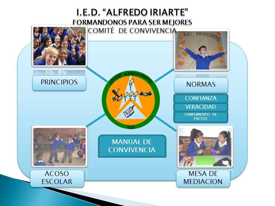 PRINCIPIOS MESA DE MEDIACION ACOSO ESCOLAR NORMAS MANUAL DE CONVIVENCIA I.E.D. ALFREDO IRIARTE FORMANDONOS PARA SER MEJORES COMITÉ DE CONVIVENCIA I.E.
