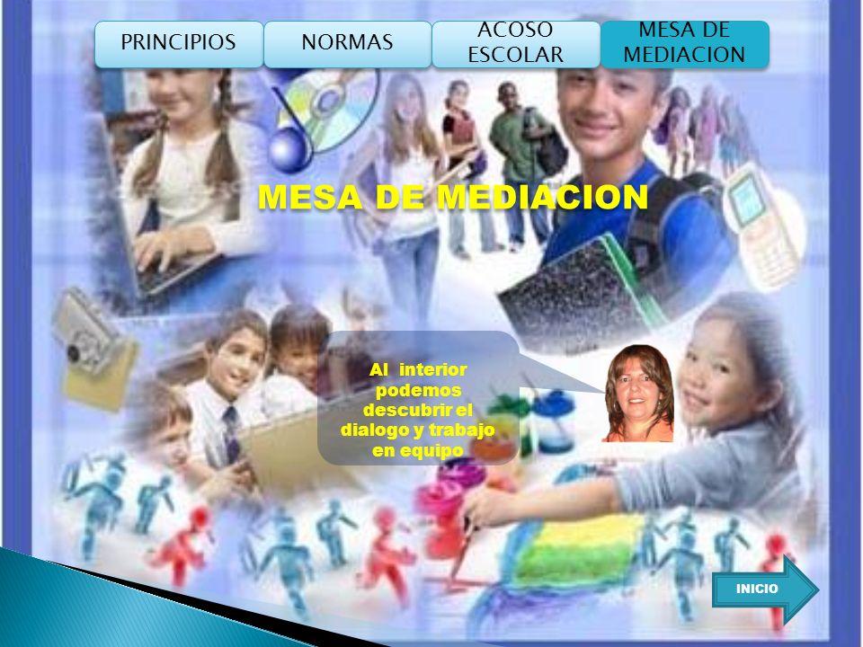 MESA DE MEDIACION Al interior podemos descubrir el dialogo y trabajo en equipo INICIO PRINCIPIOS NORMAS ACOSO ESCOLAR ACOSO ESCOLAR MESA DE MEDIACION