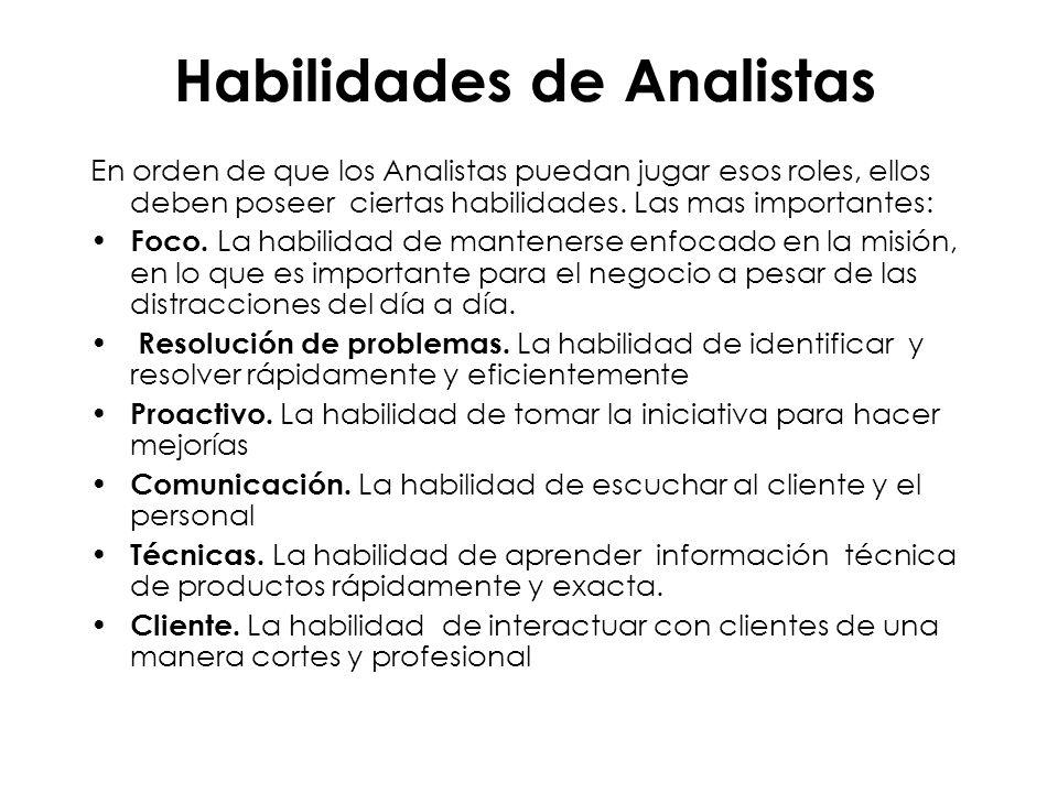 Habilidades de Analistas En orden de que los Analistas puedan jugar esos roles, ellos deben poseer ciertas habilidades. Las mas importantes: Foco. La