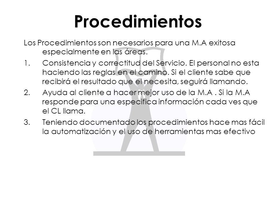 Procedimientos Los Procedimientos son necesarios para una M.A exitosa especialmente en las áreas. 1.Consistencia y correctitud del Servicio. El person