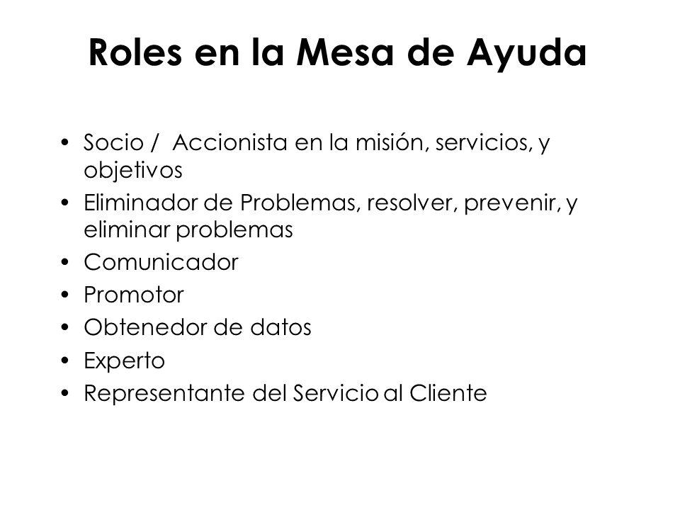 Roles en la Mesa de Ayuda Socio / Accionista en la misión, servicios, y objetivos Eliminador de Problemas, resolver, prevenir, y eliminar problemas Co