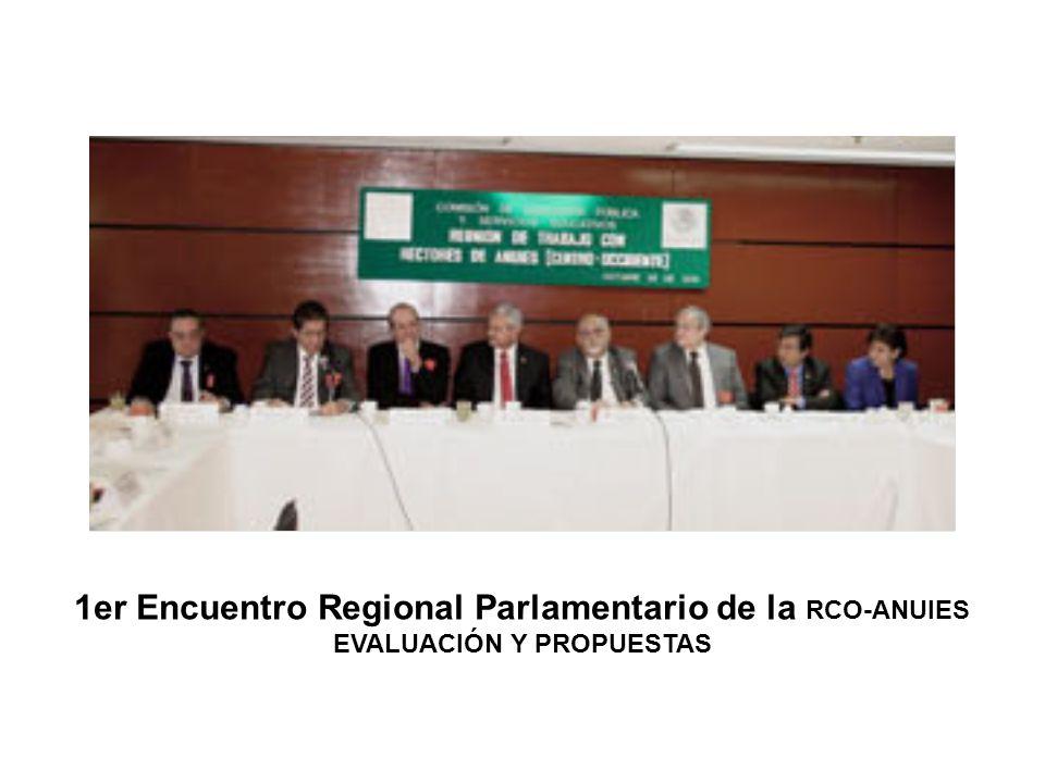 1er Encuentro Regional Parlamentario de la RCO-ANUIES EVALUACIÓN Y PROPUESTAS