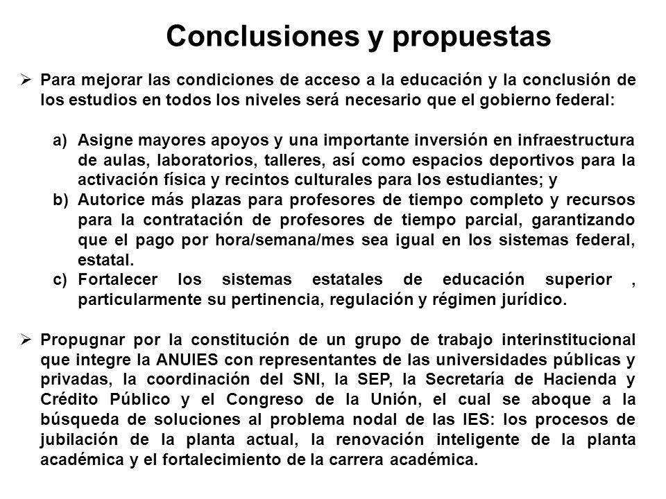 Conclusiones y propuestas Para mejorar las condiciones de acceso a la educación y la conclusión de los estudios en todos los niveles será necesario qu