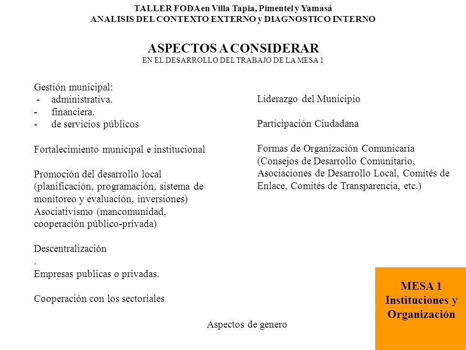 TALLER FODA en Villa Tapia, Pimentel y Yamasá ANALISIS DEL CONTEXTO EXTERNO y DIAGNOSTICO INTERNO ASPECTOS A CONSIDERAR EN EL DESARROLLO DEL TRABAJO DE LA MESA 1 Gestión municipal: -administrativa.