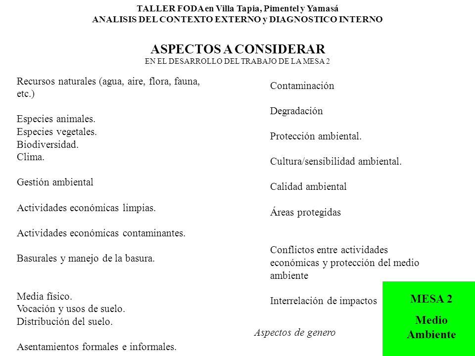 TALLER FODA en Villa Tapia, Pimentel y Yamasá ANALISIS DEL CONTEXTO EXTERNO y DIAGNOSTICO INTERNO ASPECTOS A CONSIDERAR EN EL DESARROLLO DEL TRABAJO DE LA MESA 2 Recursos naturales (agua, aire, flora, fauna, etc.) Especies animales.