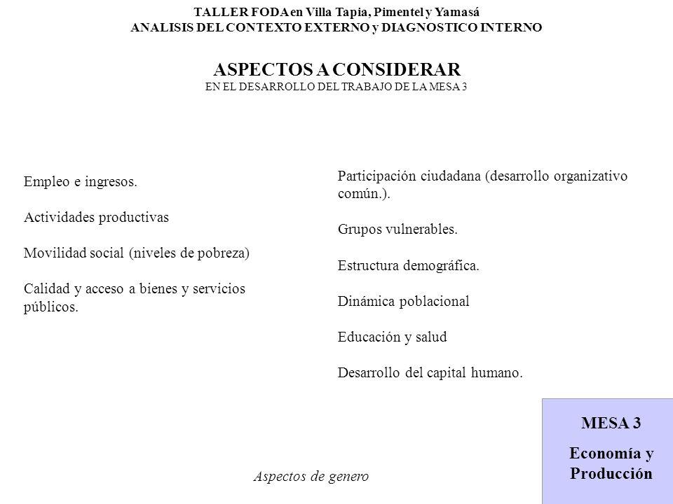 TALLER FODA en Villa Tapia, Pimentel y Yamasá ANALISIS DEL CONTEXTO EXTERNO y DIAGNOSTICO INTERNO ASPECTOS A CONSIDERAR EN EL DESARROLLO DEL TRABAJO DE LA MESA 3 Aspectos de genero MESA 2 Medio Ambiente MESA 3 Economía y Producción Empleo e ingresos.