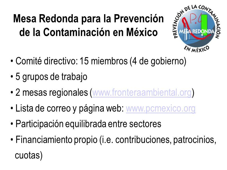 Comité directivo: 15 miembros (4 de gobierno) 5 grupos de trabajo 2 mesas regionales (www.fronteraambiental.org)www.fronteraambiental.org Lista de cor