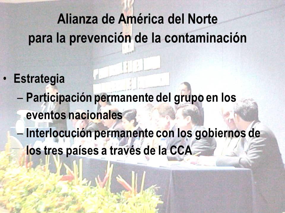Alianza de América del Norte para la prevención de la contaminación Estrategia – Participación permanente del grupo en los eventos nacionales – Interl