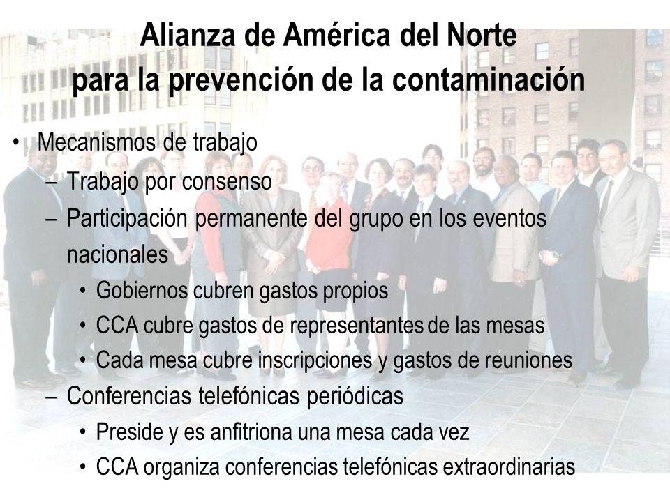 Alianza de América del Norte para la prevención de la contaminación Mecanismos de trabajo –Trabajo por consenso –Participación permanente del grupo en