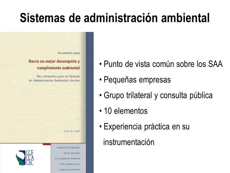 Sistemas de administración ambiental Punto de vista común sobre los SAA Pequeñas empresas Grupo trilateral y consulta pública 10 elementos Experiencia
