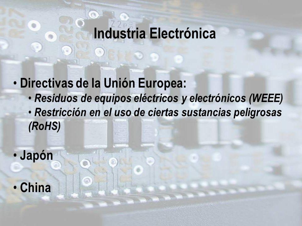 Directivas de la Unión Europea: Residuos de equipos eléctricos y electrónicos (WEEE) Restricción en el uso de ciertas sustancias peligrosas (RoHS) Jap