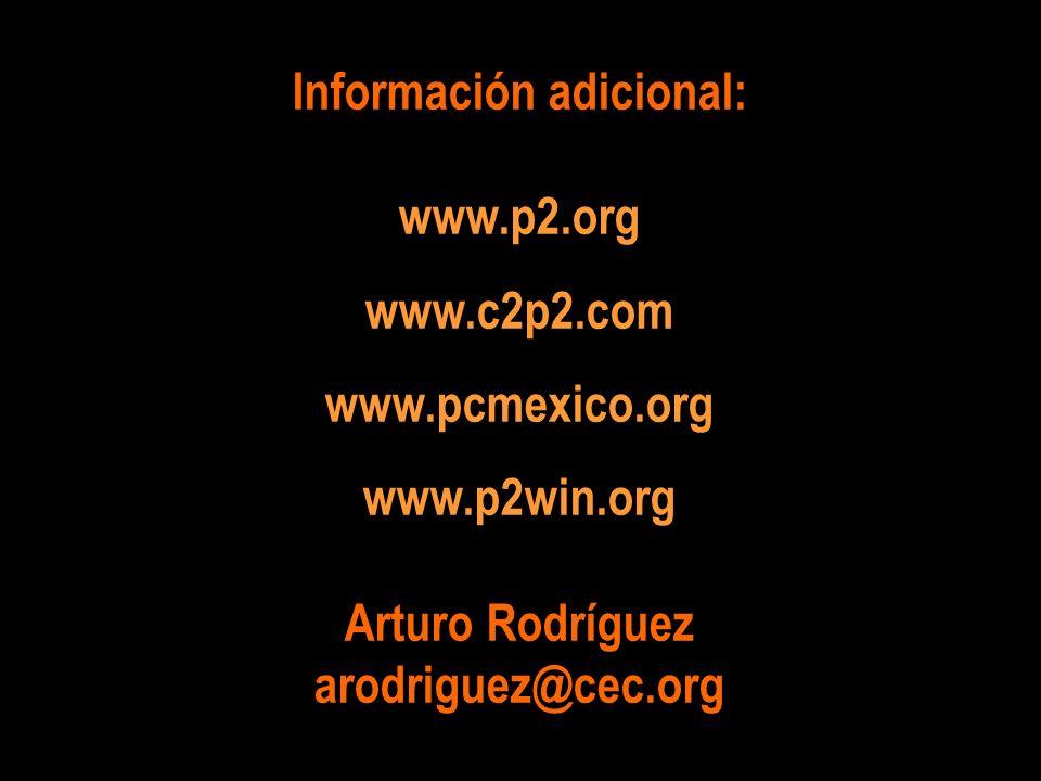 Información adicional: www.p2.org www.c2p2.com www.pcmexico.org www.p2win.org Arturo Rodríguez arodriguez@cec.org