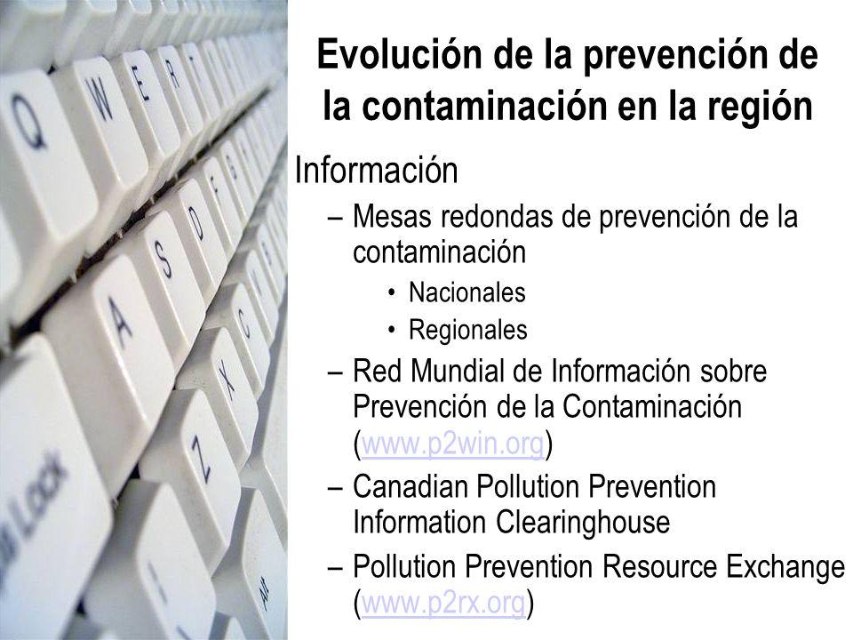 Información –Mesas redondas de prevención de la contaminación Nacionales Regionales –Red Mundial de Información sobre Prevención de la Contaminación (
