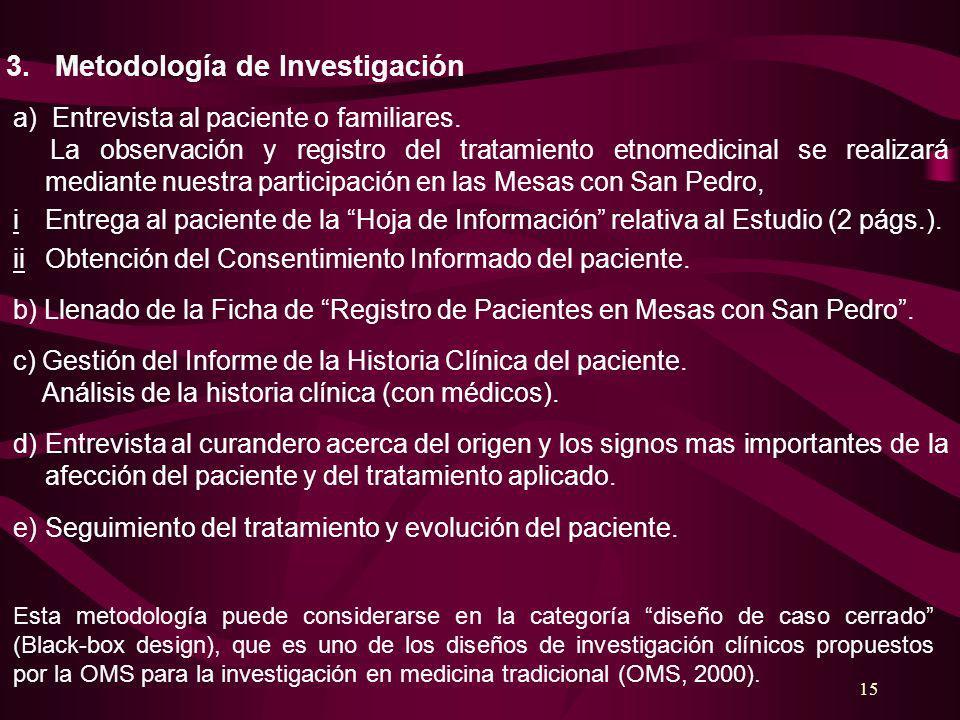 15 3. Metodología de Investigación a) Entrevista al paciente o familiares. La observación y registro del tratamiento etnomedicinal se realizará median