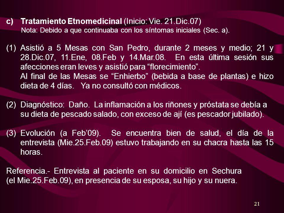21 c)Tratamiento Etnomedicinal (Inicio: Vie. 21.Dic.07) Nota: Debido a que continuaba con los síntomas iniciales (Sec. a). (1)Asistió a 5 Mesas con Sa