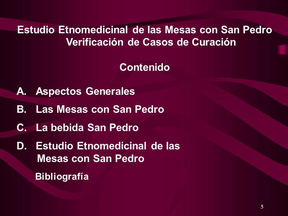 5 Estudio Etnomedicinal de las Mesas con San Pedro Verificación de Casos de Curación Contenido A.Aspectos Generales B.Las Mesas con San Pedro C.La beb