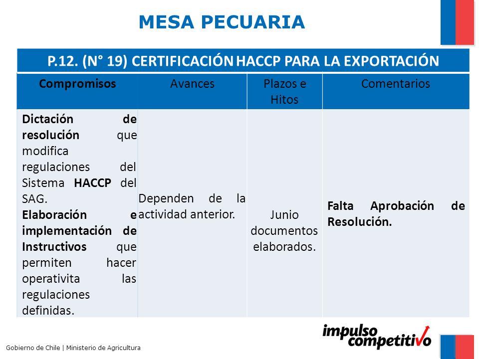 MESA PECUARIA Gobierno de Chile | Ministerio de Agricultura P.12. (N° 19) CERTIFICACIÓN HACCP PARA LA EXPORTACIÓN CompromisosAvancesPlazos e Hitos Com